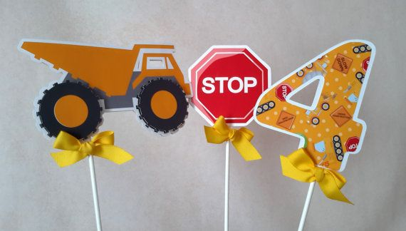 Construction Centerpiece or Cake Topper 3 Pieces, Boy Party Decoration, Yellow Dump Truck, Double Sided. Ship in 1-3 days.