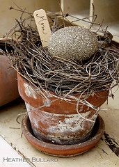 """Rustic Easter place """"pots""""... maybe add sheet moss or reindeer moss for some color."""