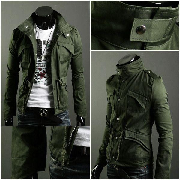 Estilo Militar Para Hombre Slim Fit soporte cuello chaqueta de abrigo Zip Botón Con Capucha Y Abrigo