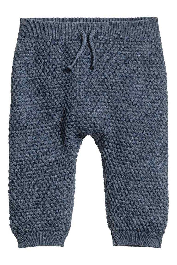 Structuurgebreide broek - Blauw gemêleerd - KINDEREN | H&M BE 1
