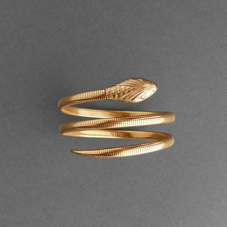 Gold Snake Bracelet. Forstner Gold Fill. Sleek Double by TheDeeps, $450.00