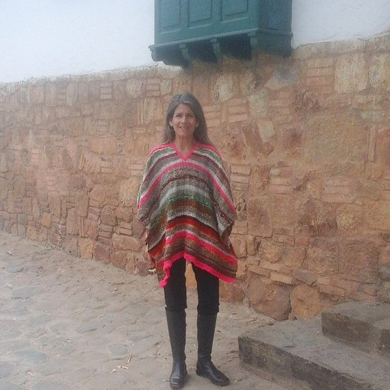 Hand-loomed Poncho /100% Pure Wool / Multicolor / by CasaLunaCo