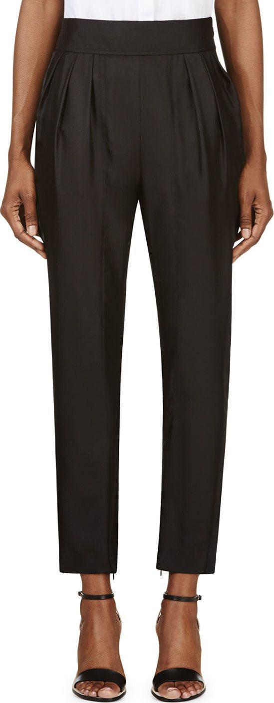Givenchy - Black Silk Twill Pleated Sarouels | SSENSE