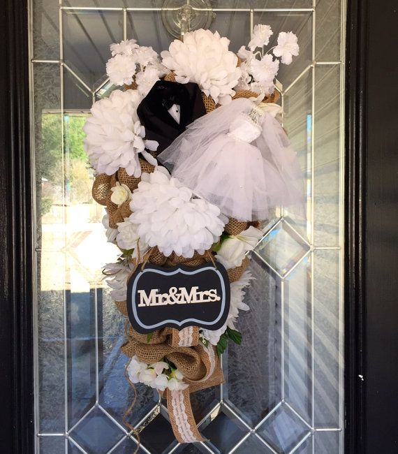 Burlap Wedding Door Swag Burlap Bridal Shower by OccasionsBoutique