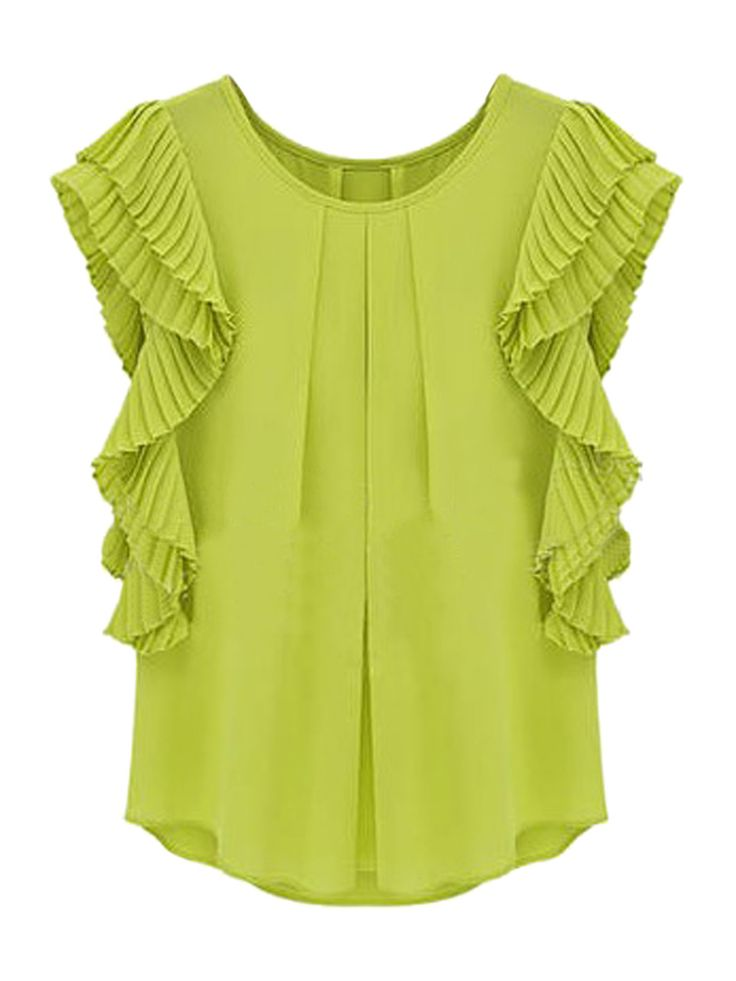 Green Pleated Ruffle Chiffon Blouse