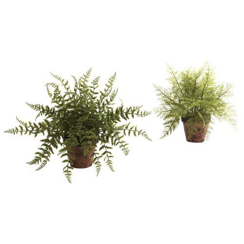 Nearly Natural Fern Silk Plant with Decorative Planter - Set of 2 - Silk Plants at Hayneedle