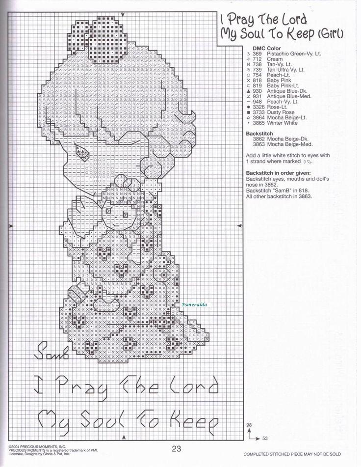 Cross-stitch Precious Moments I Pray the Lord my Soul to Keep, part 3... bimba che prega