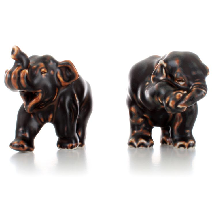 Royal Copenhagen figurines - set of two elephants - Grade A. Danish stoneware figurines with brown glaze in pristine condition! by DanishVintageDesigns on Etsy