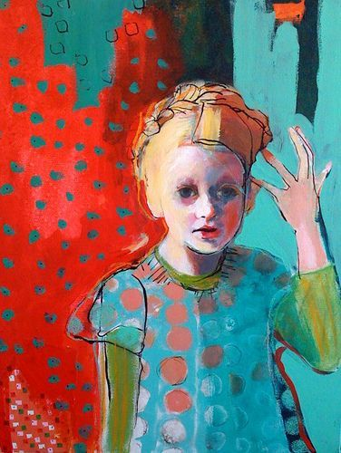 "Heidi Hair and Polk Dots by Maria Pace-Wynters-- 16""x20"" mixed media painting on canvas"
