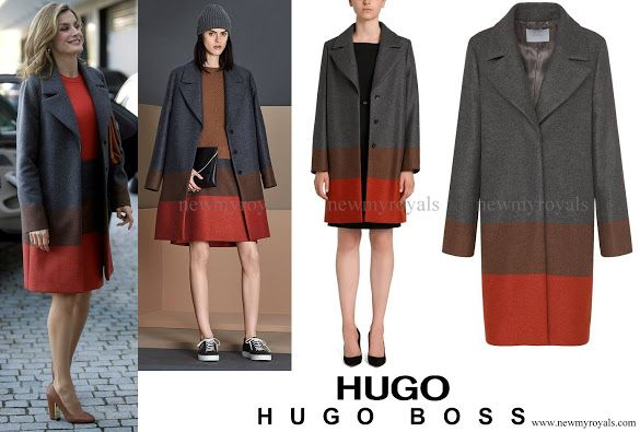 Queen Letizia wore Hugo Boss Colorina Wool Blend Cashmere Striped Coat and Malivi Skirt, Uterque shoes and handbag