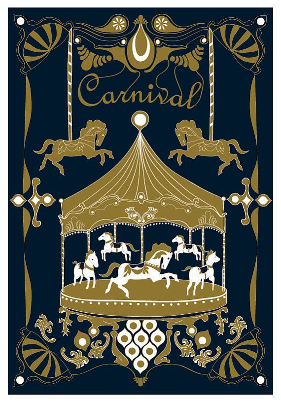 Merry - Go - Round Art Print - Royal Color - Horse Illustration Wedding Birthday Anniversary GIft Children decor Kids Wall