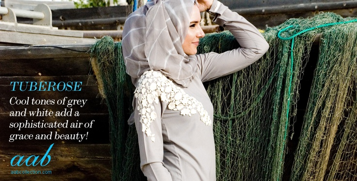 TUBEROSE  Adorn yourself in timeless elegance with this exquisite abaya. Cool pale grey with which floral lace that drapes over the shoulder and down the sleeve. Calming colours and effortless elegance is a must this season. https://www.aabcollection.com/shop/product/tuberose/362    SAND STORM  Exclusive hand dyed Hijabs. Sandy stone shade with white streaks, a lovely cool shade that blends beautifully with the season.  https://www.aabcollection.com/shop/product/sand-storm/331