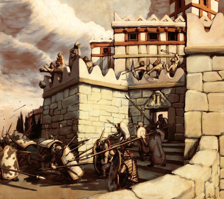 Asalto a las murallas de Micenas, con la Puerta de los Leones en primer término...
