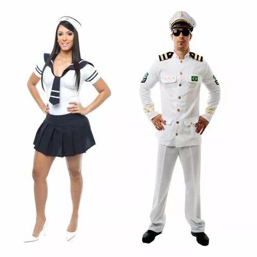 fantasia marinheira e capitão da marinha,casal - 2 fantasias