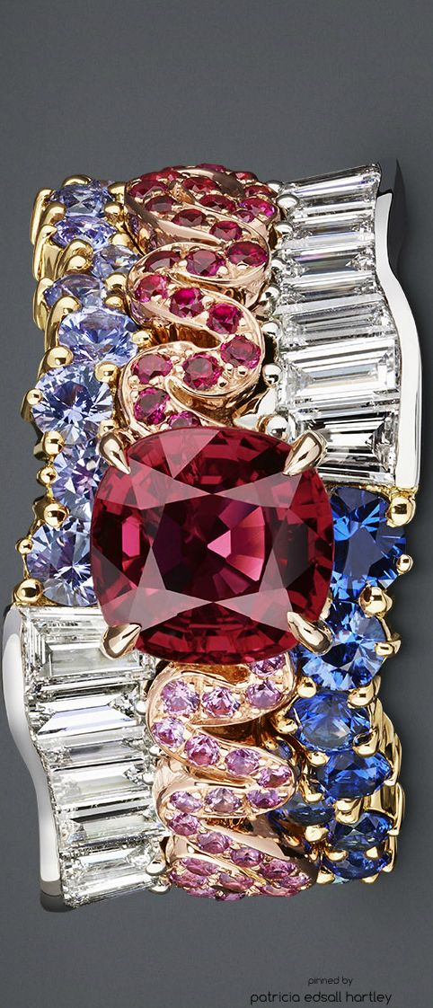 "SOIE DIOR RING ""TRESSE RUBIS"" ""Tresse Rubis"" ring in pink gold, yellow gold and platinum with diamonds, rubies, sapphires, purple sapphires and pink sapphires"