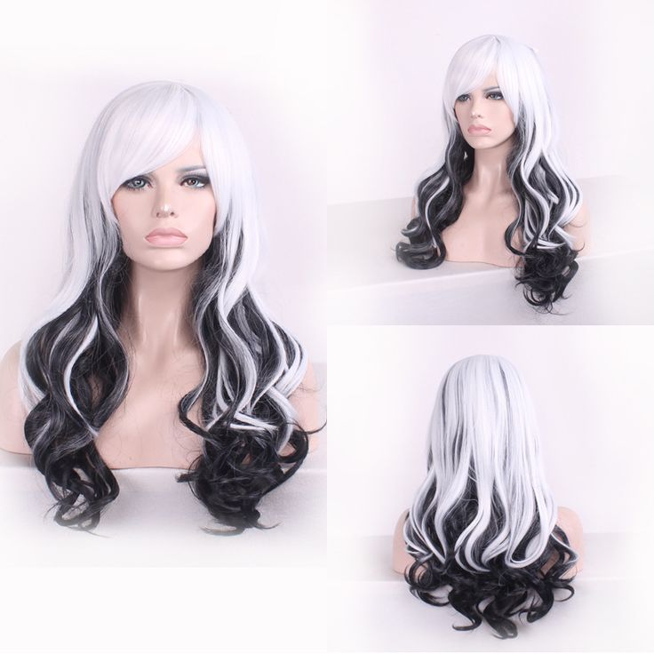 New Fashion Sexy Tilted Frisette Long Big Curly Wavy Cosplay Women Wigs Hair Wig Girl Gift White Black Ombre HB88