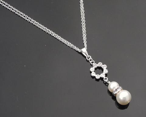 Pearl & Sparkling Crystal Bridesmaids Pendant, Imogen