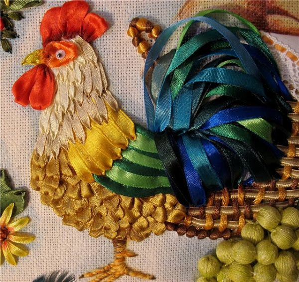 ♒ Enchanting Embroidery ♒ embroidered rooster using ribbon | Картинка