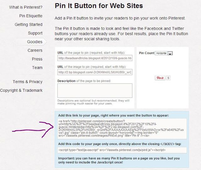 il bottone Pin It nei post (il piu semplice!)