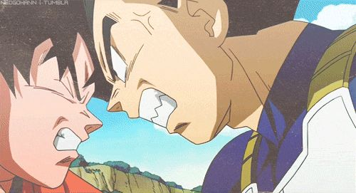 "Goku and Vegeta from ""Son Goku and Friends Return!"" If you have watched this movie, you'll know that the two of them are fighting over food."