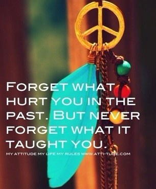Forget wat hurt you in the past.But never forget what it tought you.