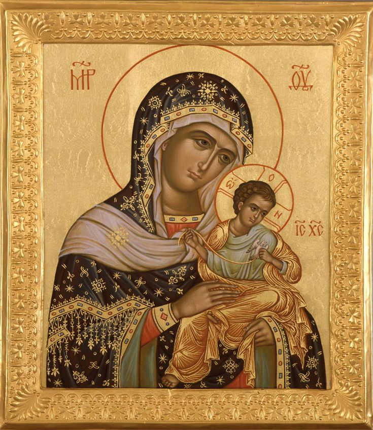 Икона Богоматерь Коневская (Голубицкая) (2007 год,  техника: золочение, темпера яичная, 31 х 26.5 см.