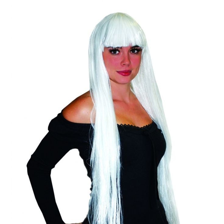 Pruik lang wit stijl haar met pony. Damespruik model Elisa met extra lange lokken en een pony. Deze pruik is gemaakt van synthetisch haar en is niet geschikt om te fohnen, krullen of steilen.