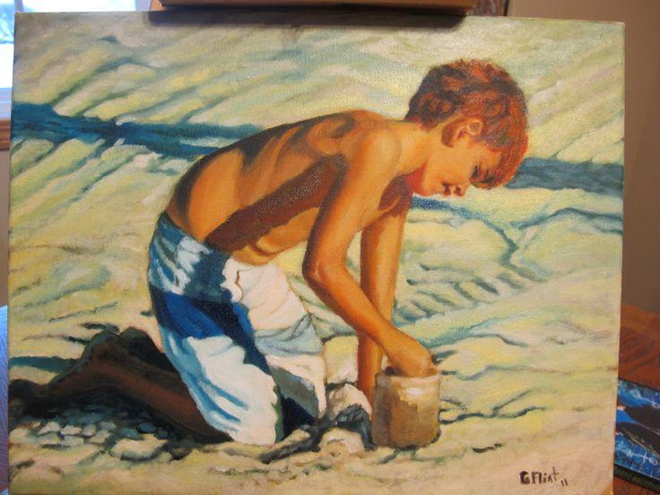 Oil on canvas.  Day at the beach. Artist Gail Flint