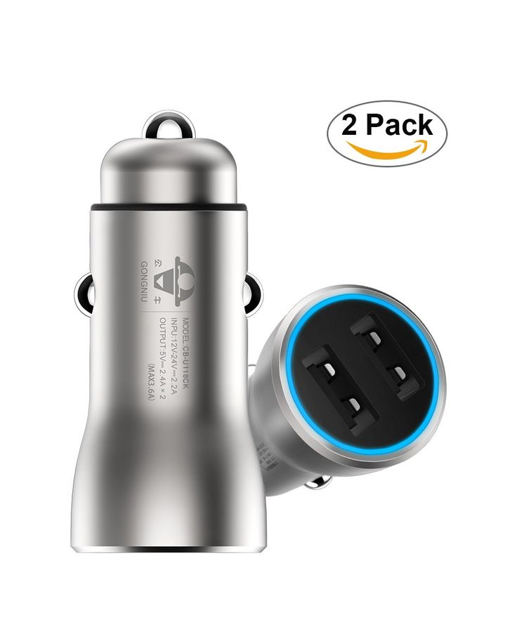 2 Pack Car Phone Charger, Copper Made Dual USB Ports Smart Car Charger for iPhone, iPad, Samsung, Android Phones and Tablet Devices - Silver Color