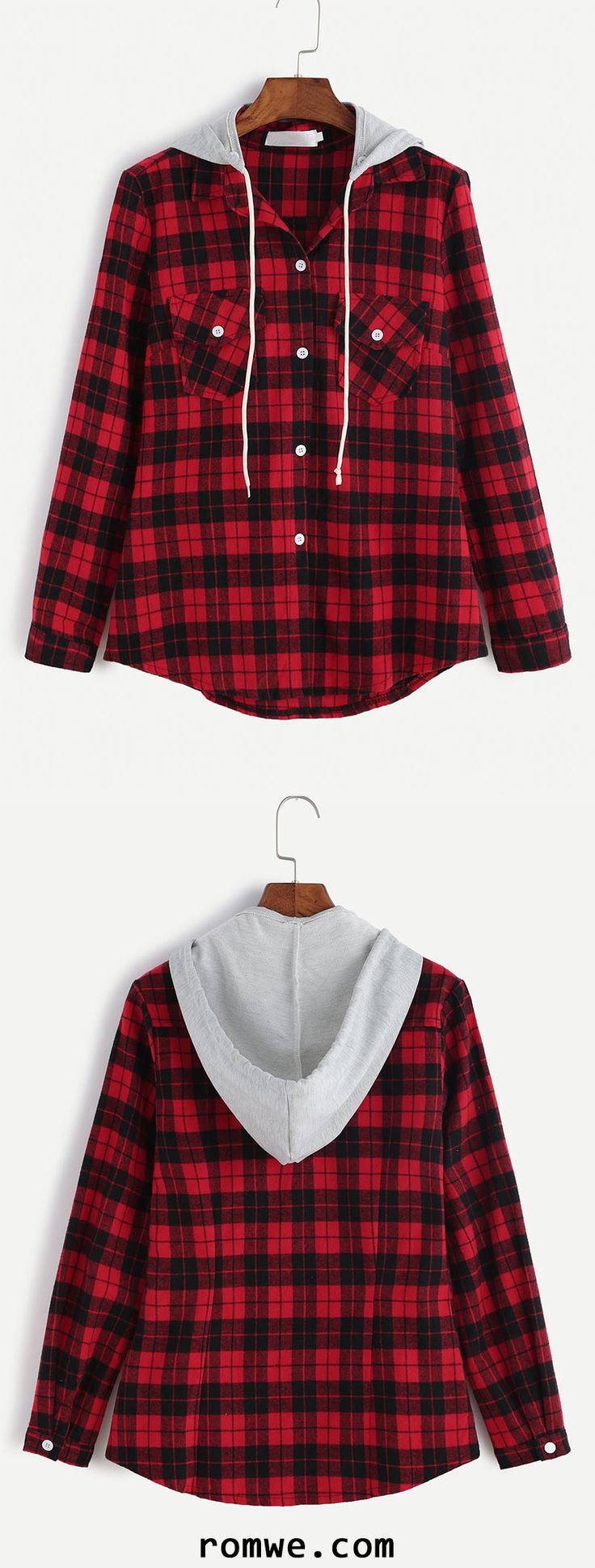 Red Plaid Dual Pocket Blouse With Removable Hood