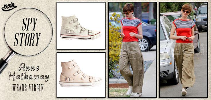 """Una #passeggiata #casual in #città. Dai un'occhiata al #favoloso #streetstyle di #AnneHathaway, che combina le #sneakers """"Virgin"""" di #Ash con un #look #rilassato ma #stilosissimo!"""