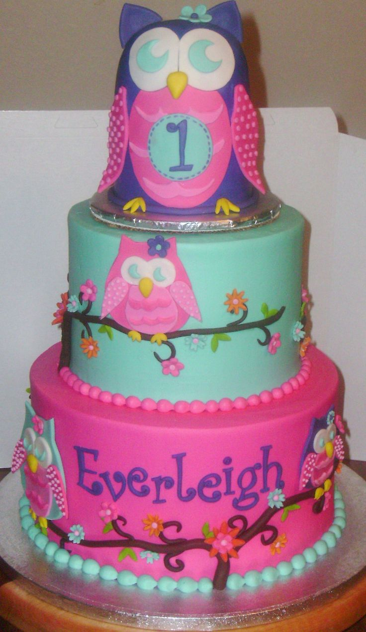 Owl Blossom First Birthday - Iced In Buttercream With -4895
