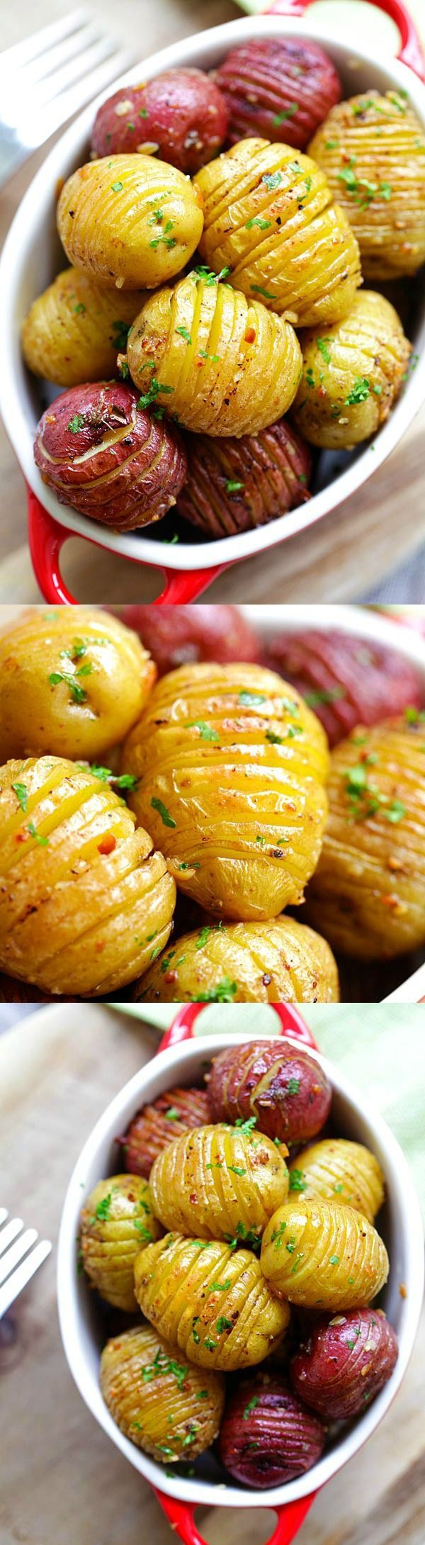 Garlic Roasted Potatoes ~ Best and easiest roasted potatoes with garlic, butter and olive oil... 10 mins prep and 40 mins in the oven