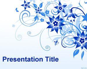 Plantilla PowerPoint con Flores Azules