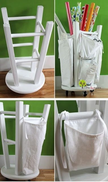 Wrapping Paper Organizer | Well Done Stuff - wouldn't even need the casters because it would slide easily on the carpet. And, I have a stool if a stool is too pricey. Wonder if old pillowcases could be used for the bags too, to save on fabric?