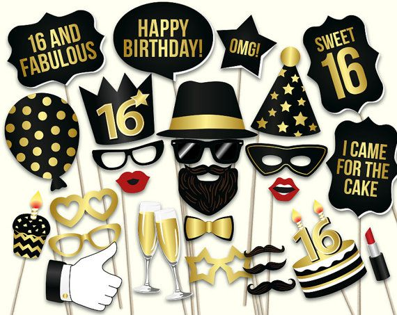 Sweet 16 party ideas for girls and boys. Photo booth props help to come up with endless photo ideas, makes photoshoot fun for everyone and photography process so much easier. Black and gold go well with lots of themes.