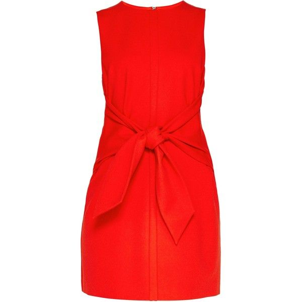 Ted Baker Papron Tie Front Dress (3.520 UYU) ❤ liked on Polyvore featuring dresses, sale women dresses, red holiday party dress, tie front dress, ted baker dresses, sleeveless shift dress and party shift dress