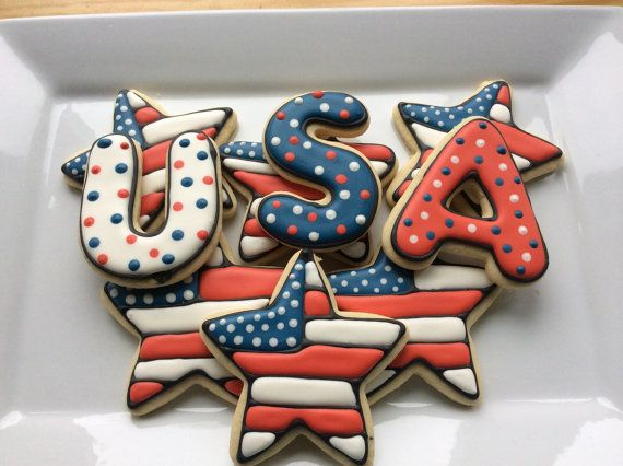 PATRIOTIC USA Sugar Cookies  2 sets USA 6 by SweetiePiConfections