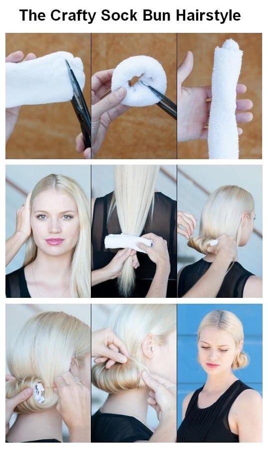 DIY Crafty Sock Bun Hairstyle diy diy hair diy fashion diy style easy diy beauty diy diy beauty diy hair style diy updo diy bun