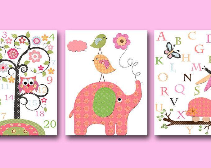 Rose jaune vert autocollant éléphant tortue toile impression mur sticker bébé fille chambre d'enfant numéros Alphabet Baby crèche Kids Room Decor lot de 3