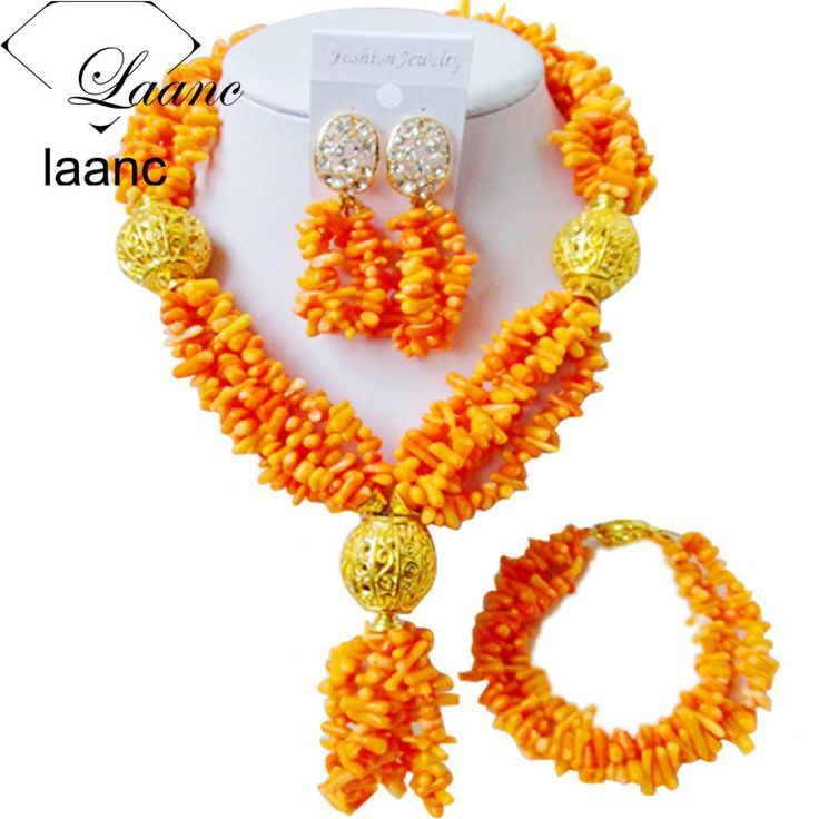 ==> [Free Shipping] Buy Best Laanc Nigerian Wedding African Beads Orange Beaded Coral Sets Jewelry Necklace Earrings for Women AL489 Online with LOWEST Price | 32804900720