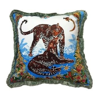 Wholesale Pillows Tassels Design Square Printing Tiger Animal Cushion Pillow