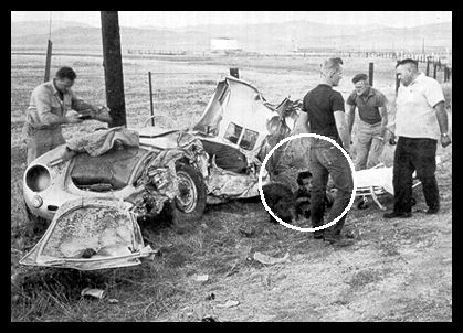 James Dean alive for only a couple of hours-last seen here-still unaware of what was happening. His internal injuries killed him just minutes after this photo was taken .Car Crash
