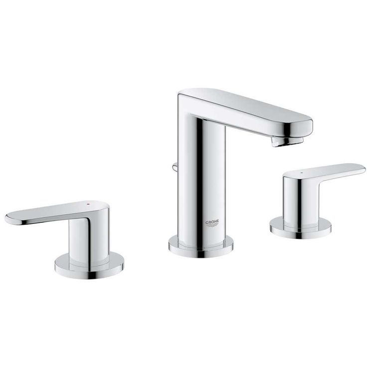GROHE Europlus 8 in. Widespread 2-Handle Low Arc Bathroom Faucet in StarLight Chrome - 20302000 - The Home Depot