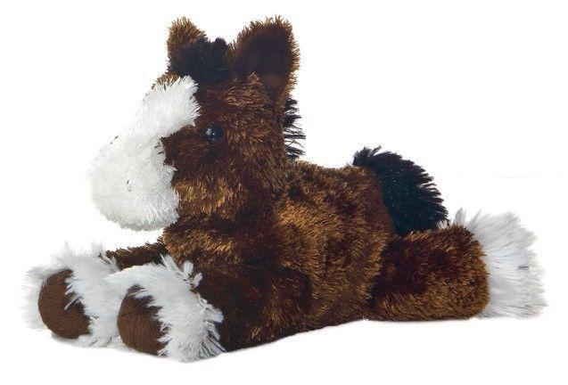 8quot aurora plush pony horse mini flopsie brown equestrian