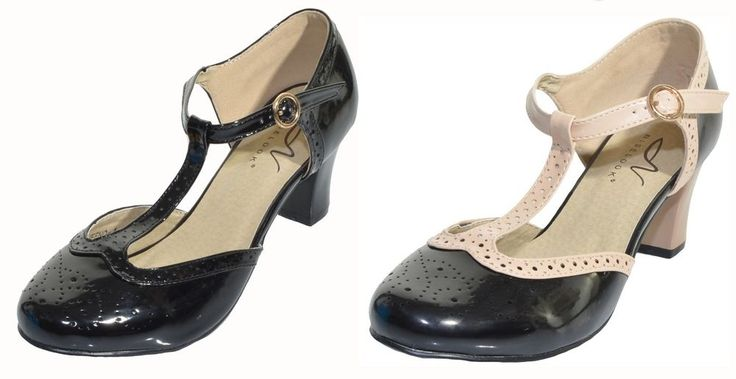 Nise Look Aveeno T Strap Pumps Low Heel Round Toe Flapper Spectator Shoes NEW | Clothing, Shoes & Accessories, Women's Shoes, Heels | eBay!