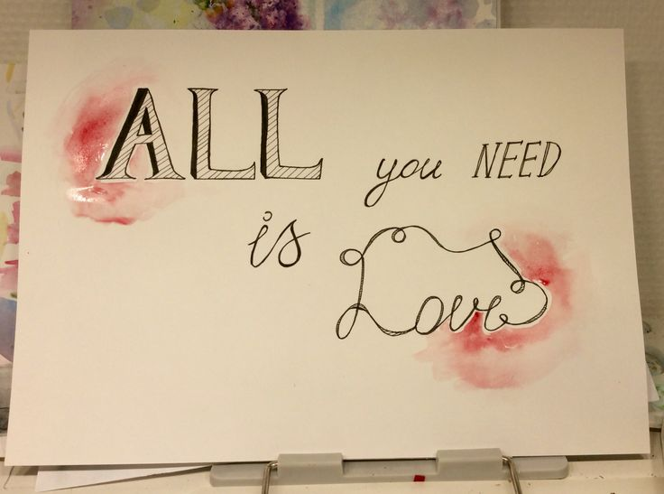 """Pigma Micron pen and watercolor.  """"All you need is love""""❤️"""