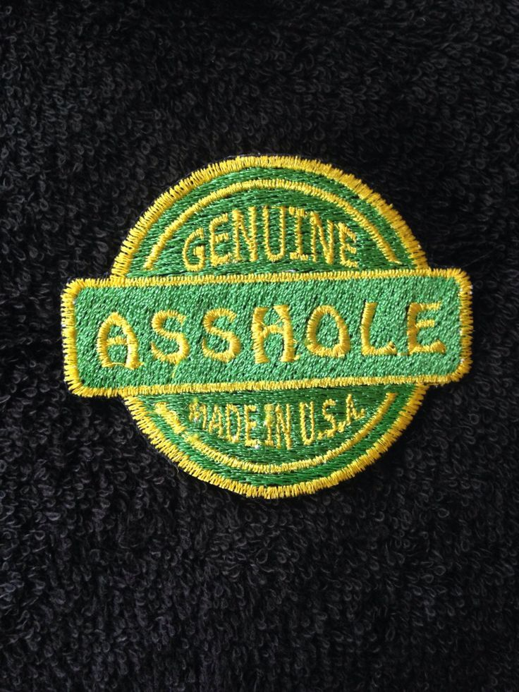 Custom patch motorcycle Harley jacket Asshole USA adult humor embroidery green yellow color honda buell motorbike bike leather vest by LaurynandLuca on Etsy