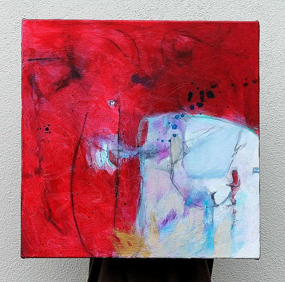 "Abstract Painting Expressionist Acrylic Modern Red ""What's Happening Here"". $150.00, via Etsy."