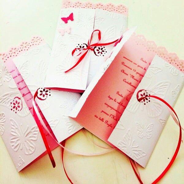 Partecipazioni-invitations-inviti-festa- tema farfalle-bianco e rosa-